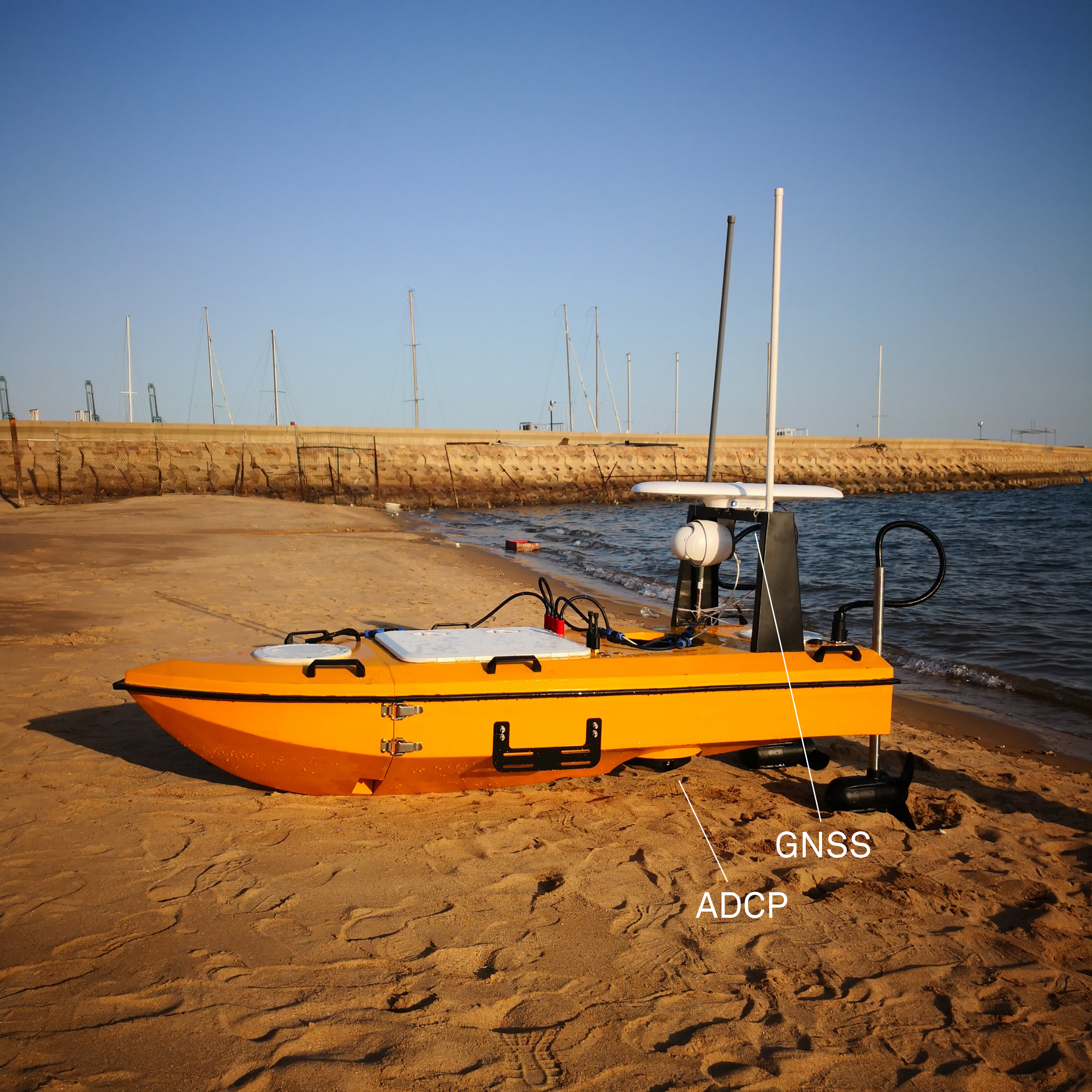 USV equipped with the Signature VM Ocean system and the Signature Service software for USVs and ASVs to measure water current and direction.